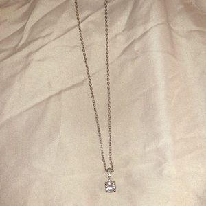 Silver chain necklace with diamond charm